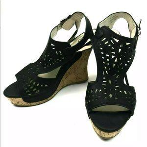 Cato Black Sling back Cork Wedge Platform Shoes 11